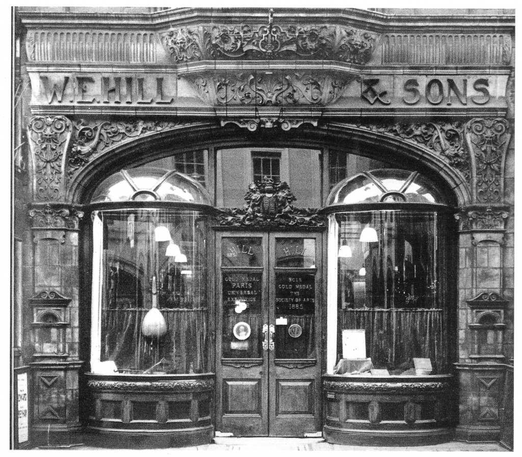 Shopfront of W E HILL & SONS, 140 New Bond Street, London.